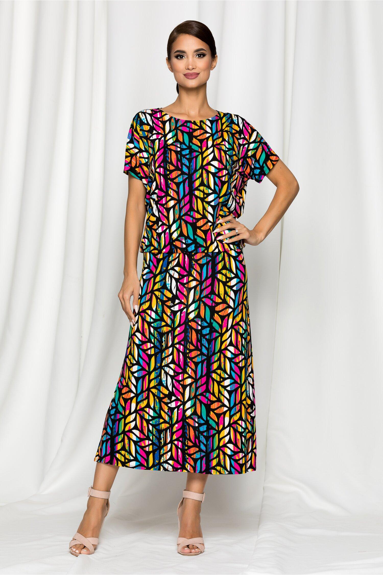 Compleu Melina negru cu imprimeu frunze multicolore si fusta midi
