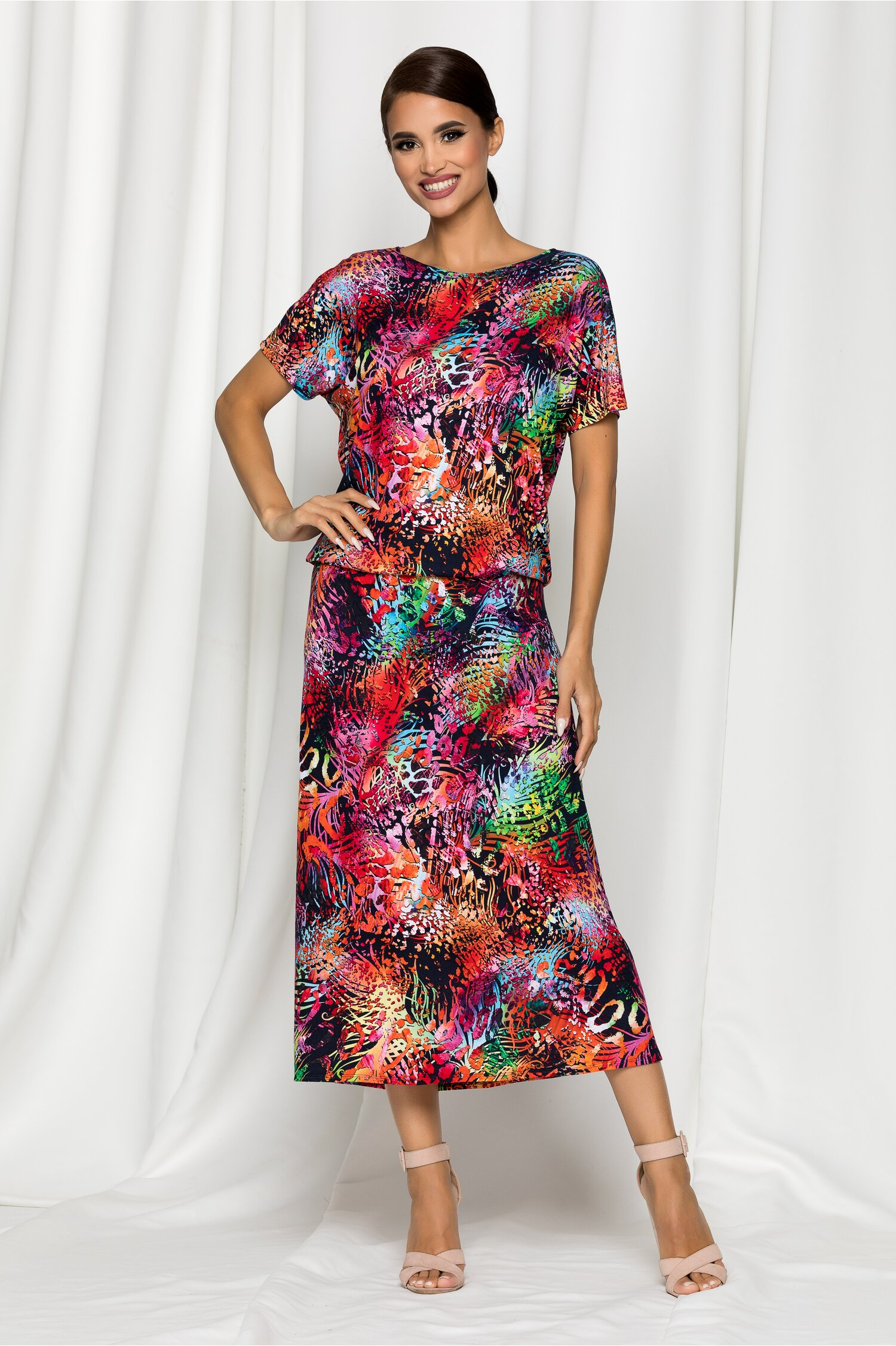 Compleu Melina negru cu imprimeu multicolor si fusta midi
