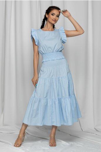 Compleu Mera bleu cu top si fusta lejera cu volane