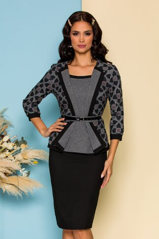 Compleu negru cu fusta si bluza tip sacou cu peplum