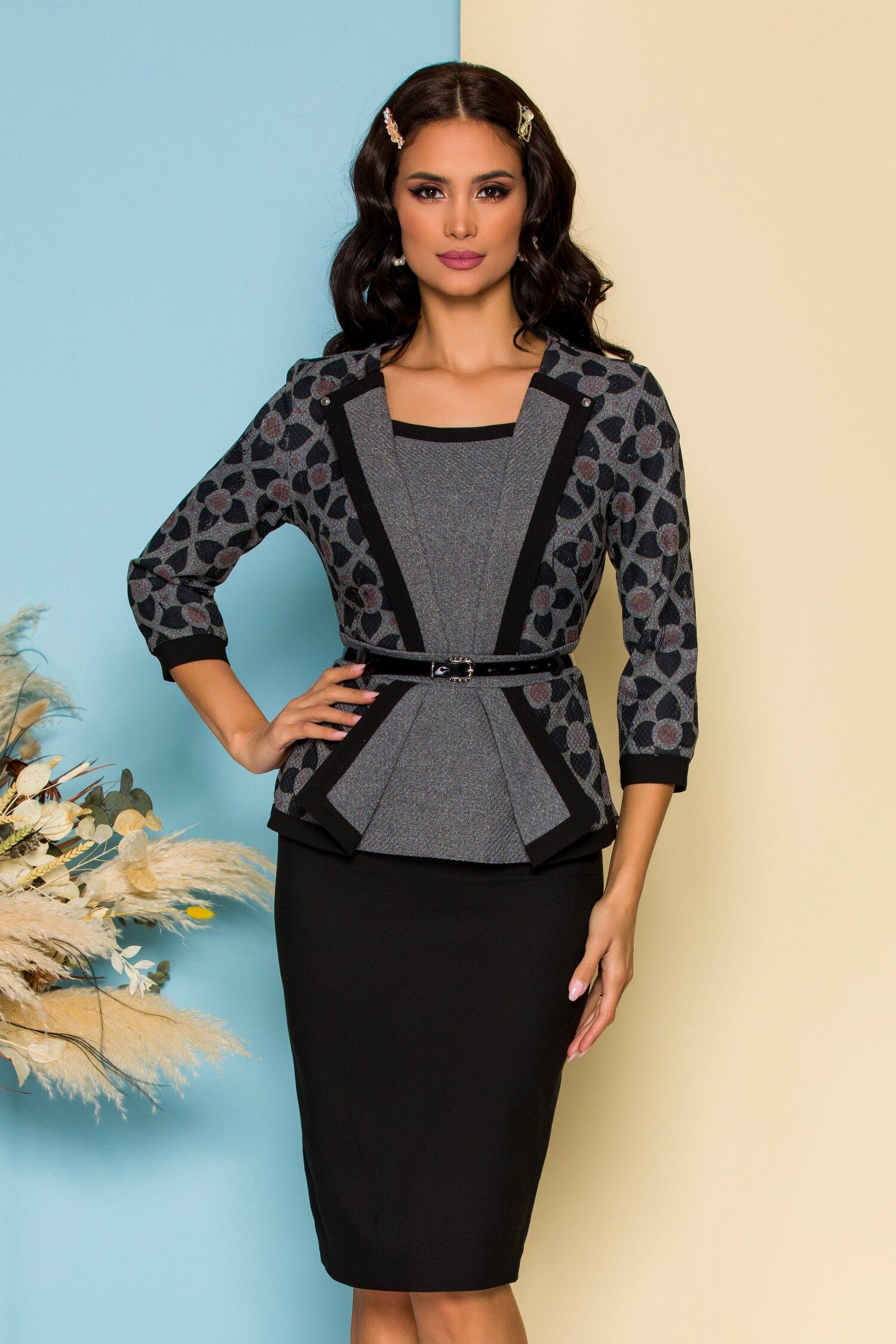 Compleu negru cu fusta si bluza tip sacou cu peplum imagine