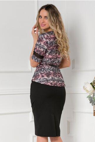 Compleu negru cu roz din doua piese cu bluza imprimata