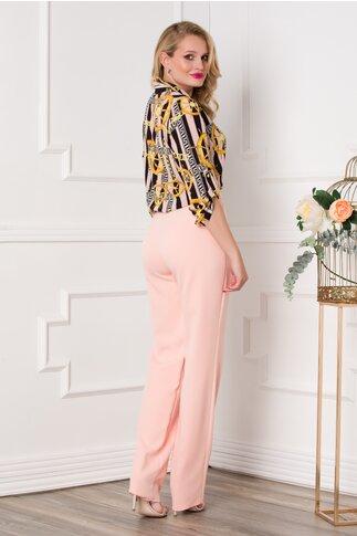 Compleu Olga somon cu pantaloni si bluza cu imprimeu