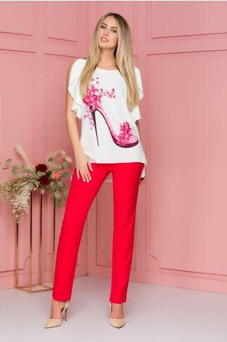 Compleu Olivia rosu cu pantaloni si bluza cu imprimeu