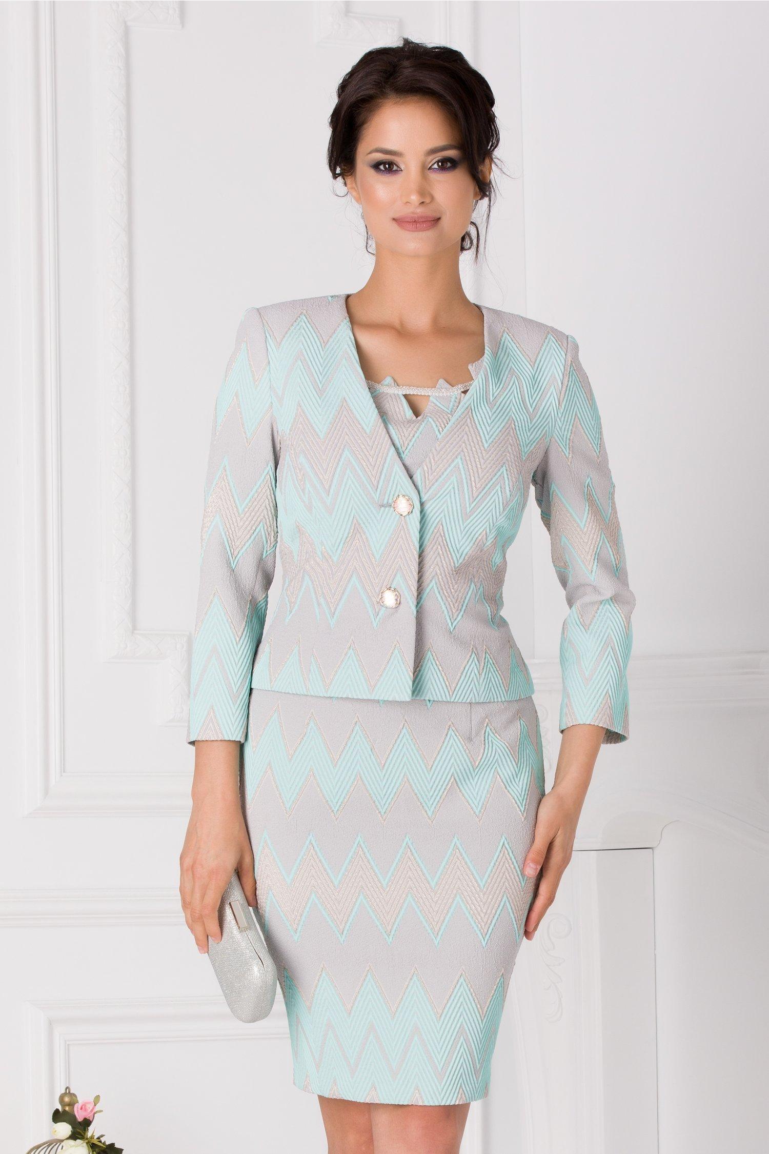 Compleu Petra cu sacou si rochie gri cu imprimeu turcoaz