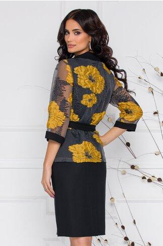 Compleu Renata cu rochie neagra si bolero cu imprimeu floral galben