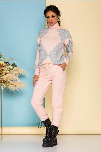 Compleu roz casual tricotat din doua piese cu maleta si pantaloni