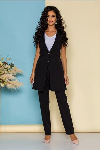 Compleu Sabrina negru cu sacou lung fara maneci si pantaloni