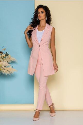 Compleu Sabrina roz cu sacou lung fara maneci si pantaloni