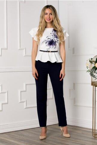 Compleu Sara cu pantaloni bleumarin si bluza cu imprimeu