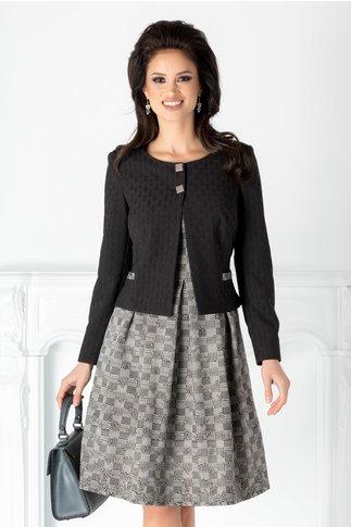 Compleu Sara cu rochie gri si sacou negru