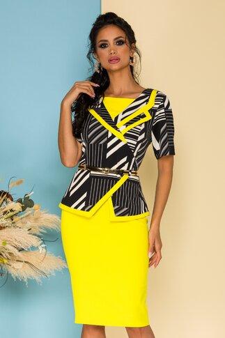 Compleu Sarina negru cu galben si design petrecut la bluza