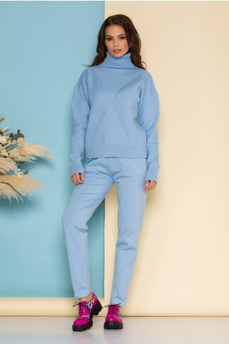 Compleu Selena bleu din tricot cu bluza pe gat si pantaloni