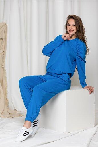 Compleu sport LaDonna albastru cu pliuri pe bluza