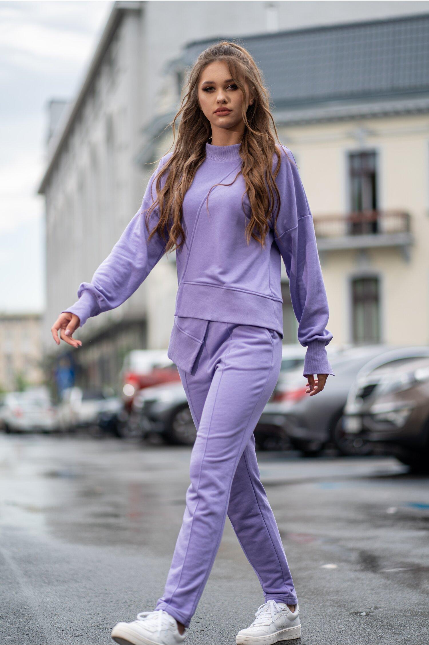 Compleu sport LaDonna lila cu design in colt la baza bluzei