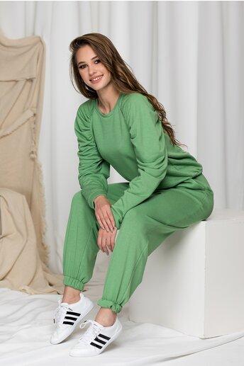 Compleu sport LaDonna verde fistic cu pliuri pe bluza
