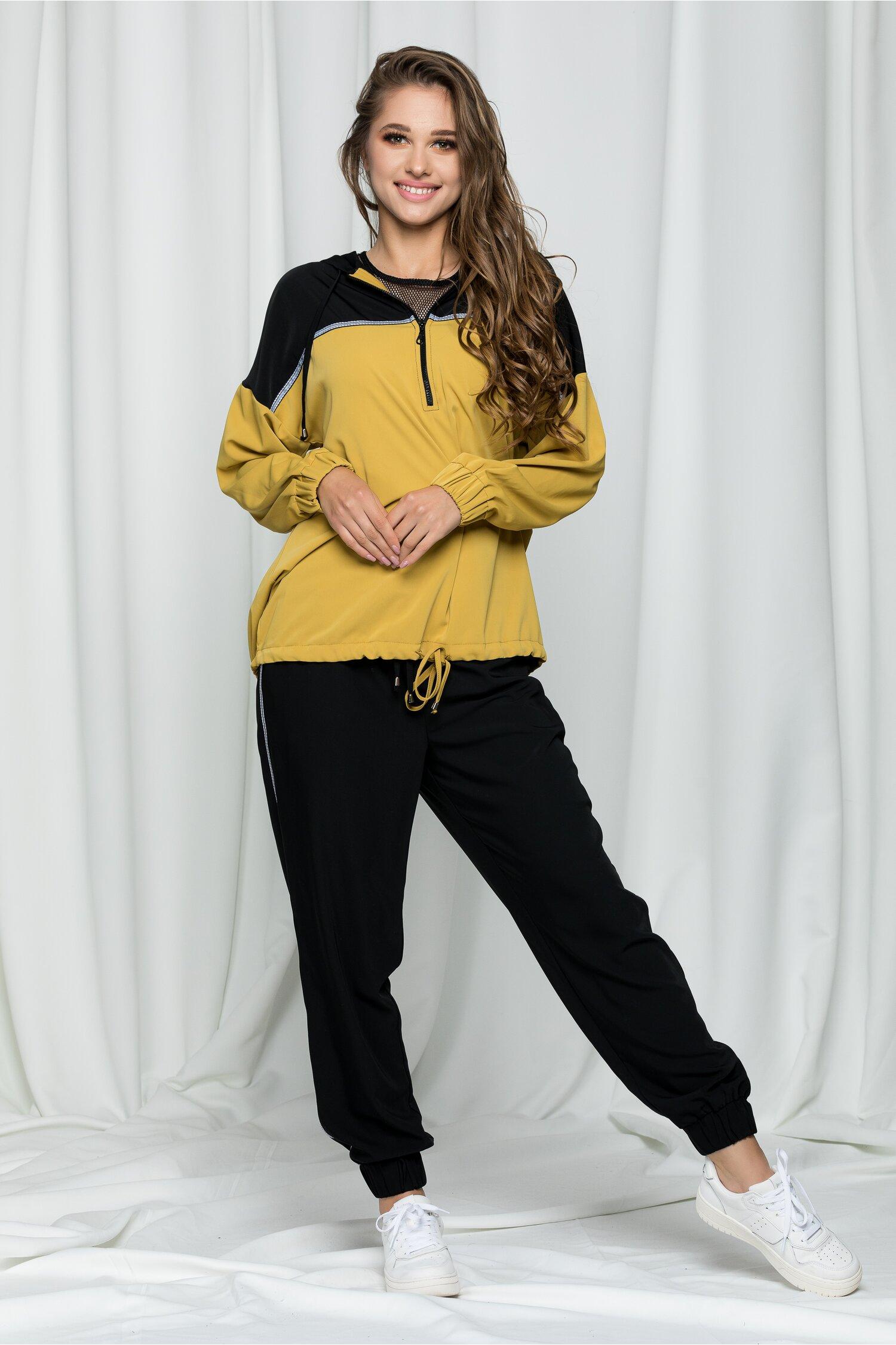 Compleu sport Missy galben mustar din trei piese