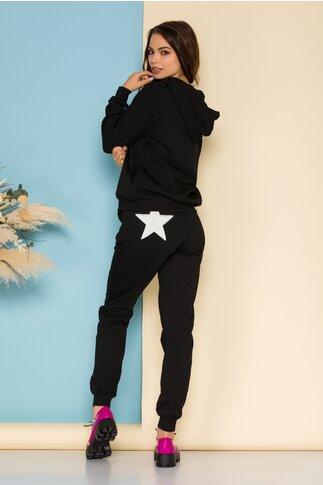 Compleu sport Star negru cu aplicatie alba