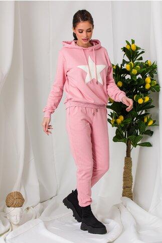 Compleu sport Star roz cu aplicatie alba
