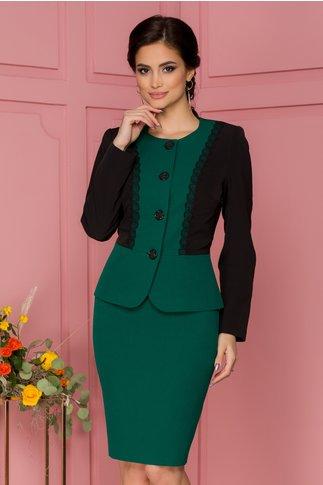 Compleu verde cu rochie si sacou brodate