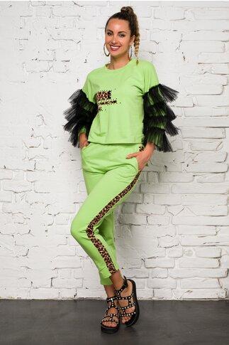 Compleu verde deschis LaDonna by Catalin Botezatu cu insertie animal print si tull