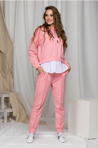 Compleu Xera roz cu hanorac si pantaloni