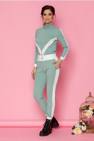 Costum sport Dany verde cu benzi albe
