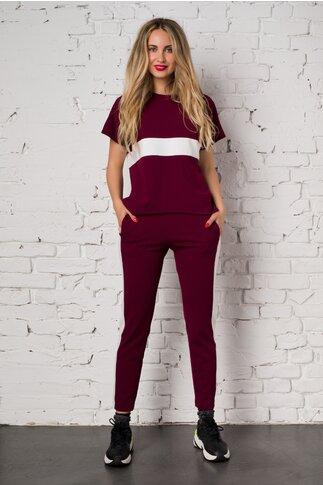 Costum sport Ella Collection Sasha bordo cu top si pantaloni
