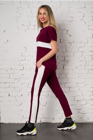 Costum sport Ella Collection Sasha bordo cu top si pantaloni