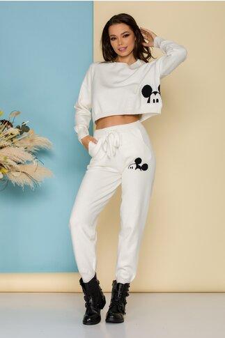 Costum sport Mickey alb din tricot