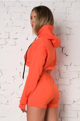 Costum sport orange LaDonna by Catalin Botezatu cu hanorac si pantaloni scurti
