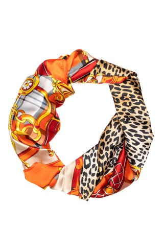 Esarfa orange cu animal print si detalii fashion