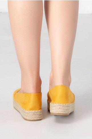 Espadrile galben mustar cu talpa groasa