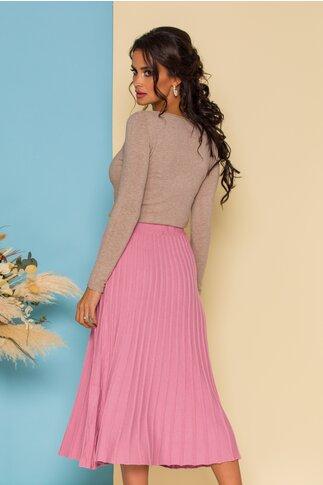 Fusta din tricot midi roz cu talie lata elastica cu dungi