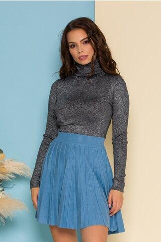 Fusta din tricot scurta bleu in dungi reliefate cu talie elastica