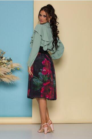 Fusta LaDonna neagra cu imprimeu floral si brau in talie