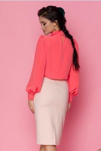 Fusta LaDonna nude-rose cu funda si decupaj in V in talie