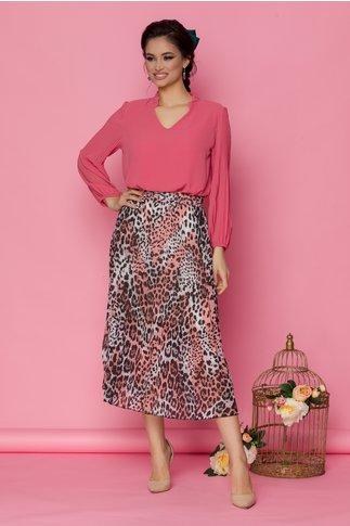Fusta Martha cu pliuri roz cu animal print