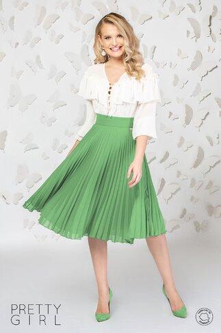 Fusta Pretty Girl midi plisata din voal verde olive