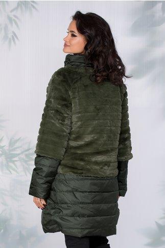 Geaca Anastasia verde 3 in 1 cu blanita ecologica