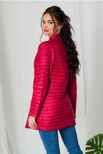 Geaca Dara rosie lunga de primavara