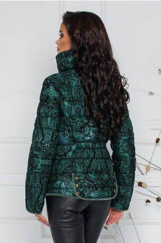 Geaca Daria verde  cu insertii catifelate negre