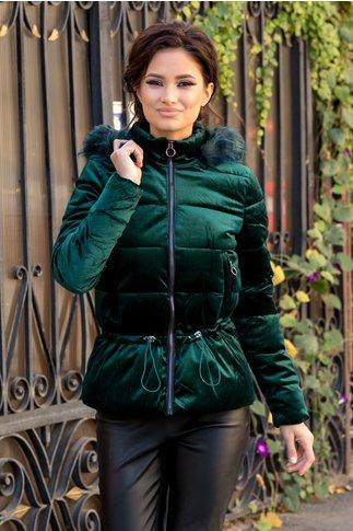 Geaca verde smarald cu aspect de velur