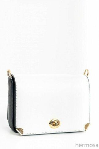 Geanta alba cu inchidere metalica si curea lunga detasabila