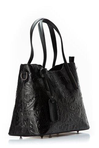 Geanta Bianca neagra cu imprimeu floral reliefat