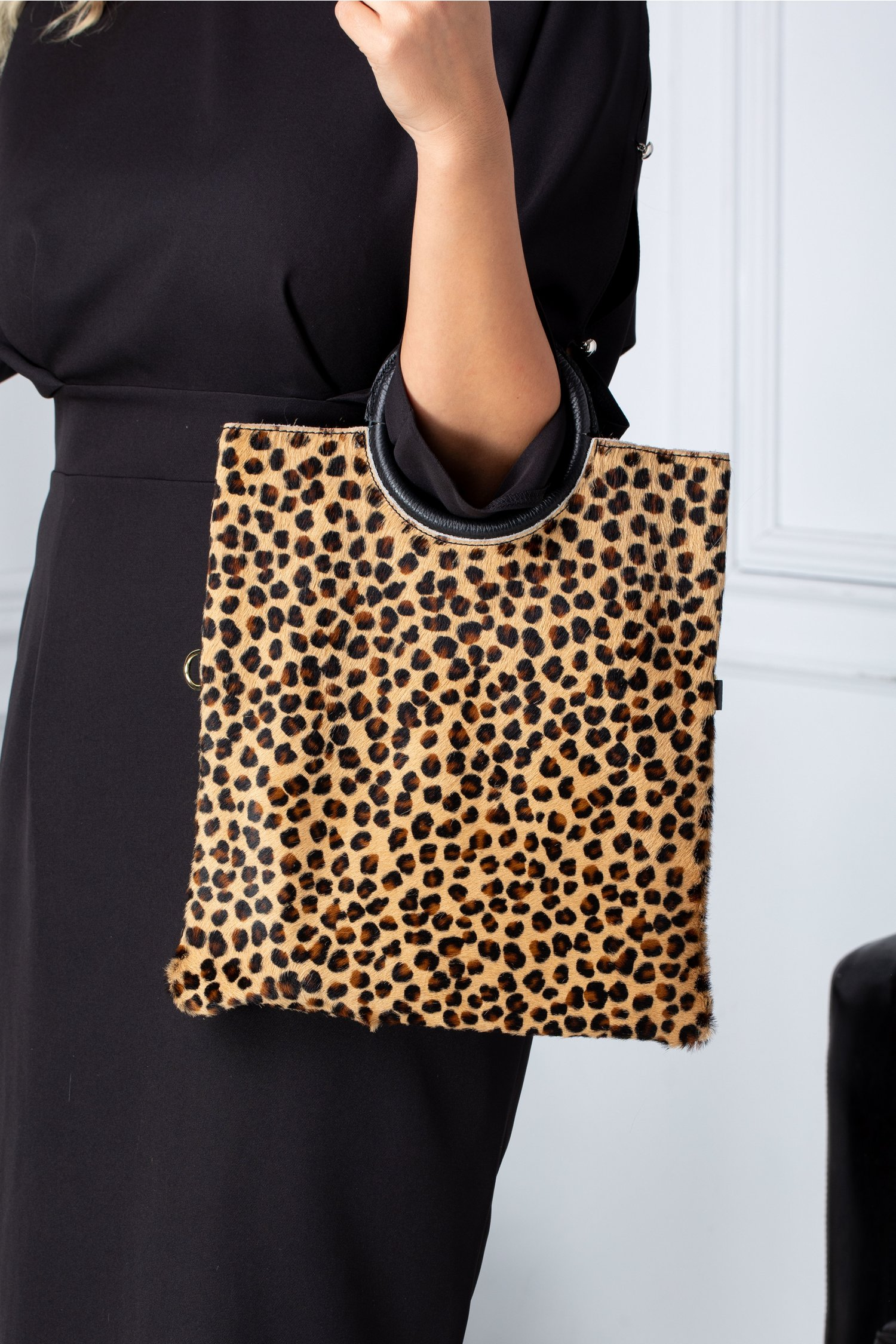 Geanta Capry cu insertie din par cu animal print leopard