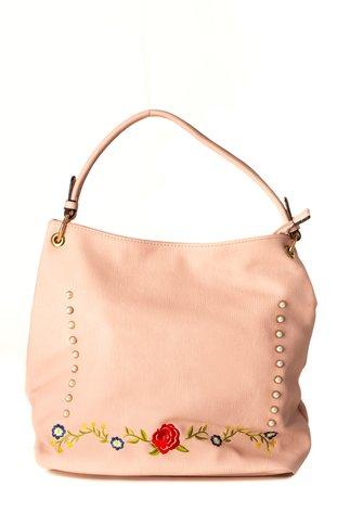 Geanta roz pudrat cu detalii aurii si broderie florala