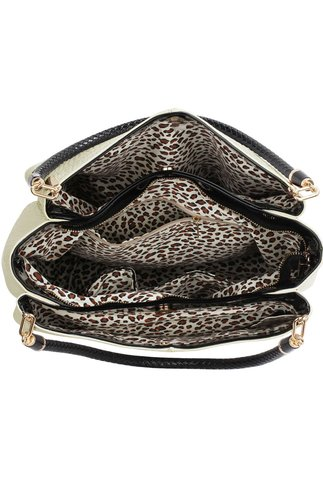 Geanta Vanesa snake crem