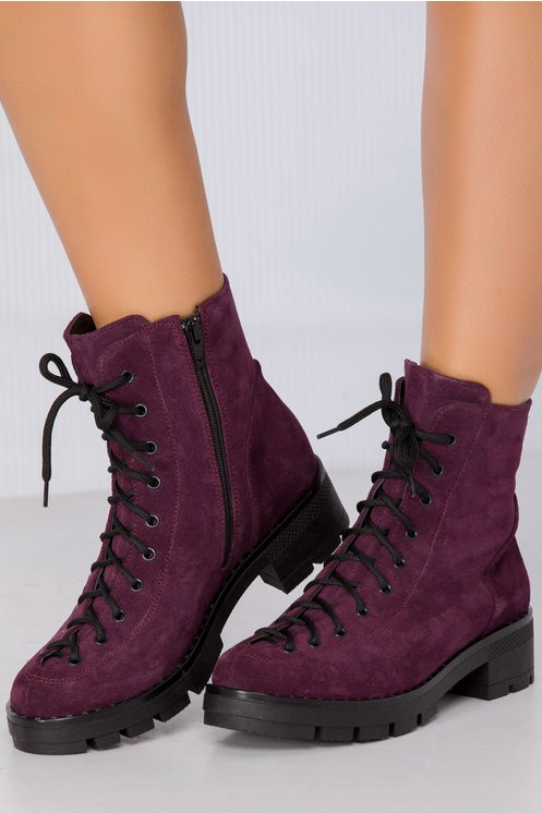Ghete Lacy violet imblanite din piele intoarsa