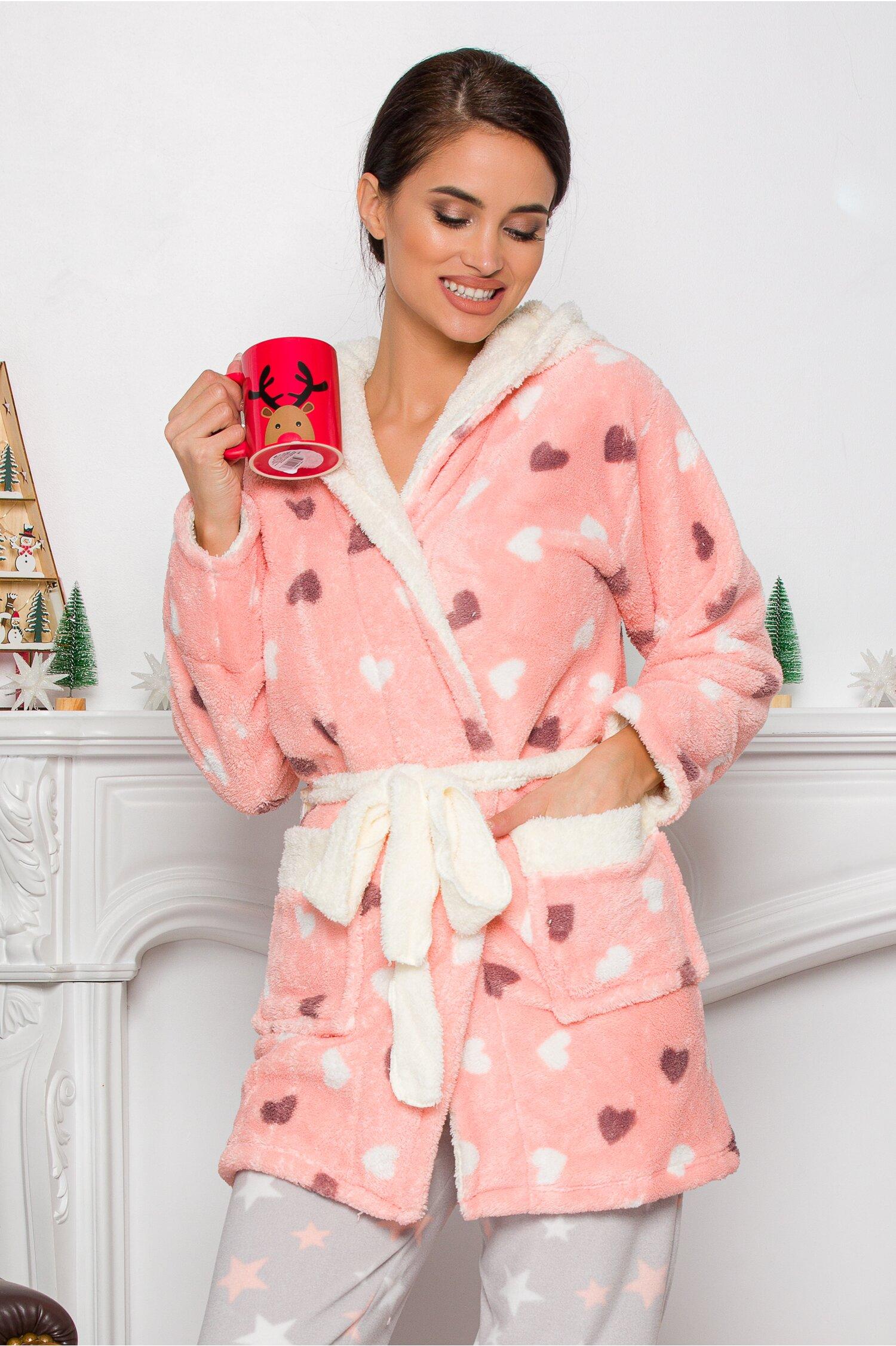 Halat pufos din bumbac roz cu inimioare Idei Cadouri de Craciun Online